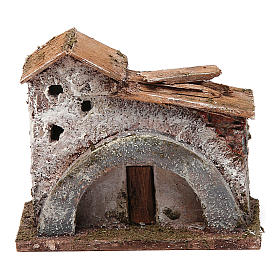 Settings, houses, workshops, wells: Rock house with arch and door for nativity scene