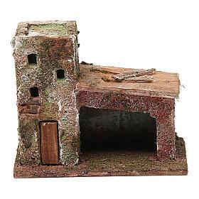 Casinha com porta dois andares 10x10x5 cm para presépio com figuras de 3 cm de altura média s1