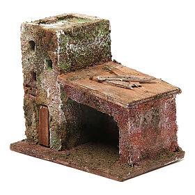 Casinha com porta dois andares 10x10x5 cm para presépio com figuras de 3 cm de altura média s2