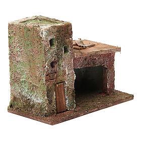 Casinha com porta dois andares 10x10x5 cm para presépio com figuras de 3 cm de altura média s3