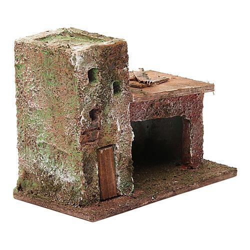 Casinha com porta dois andares 10x10x5 cm para presépio com figuras de 3 cm de altura média 3