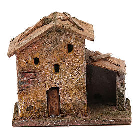 Settings, houses, workshops, wells: Small house with hut for nativity scene