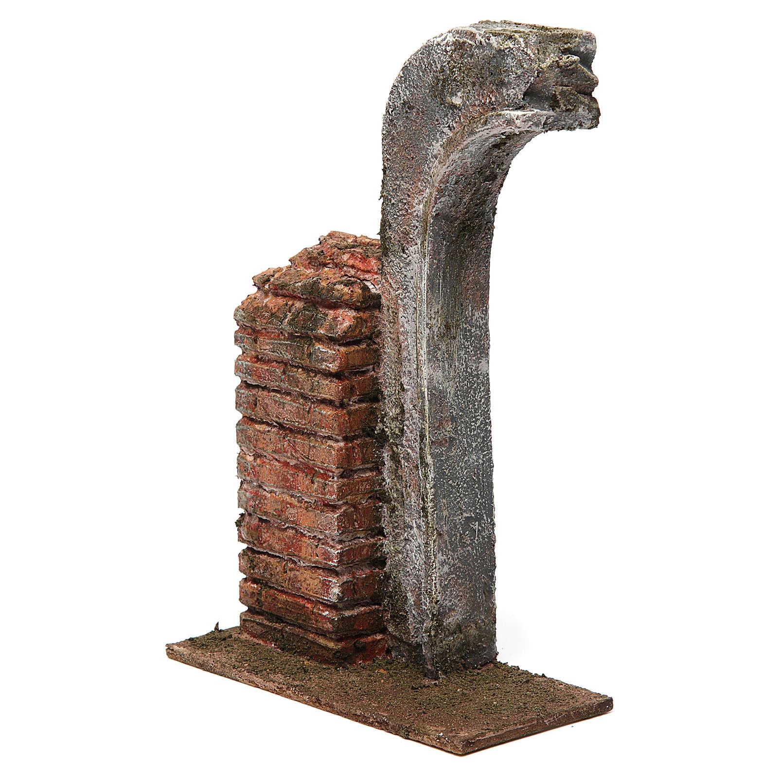 Semiarco con metà colonna per presepe 12 cm 20x15x5 cm 4