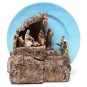 Portales, cabañas y cuevas: Belén 10 piezas completo sobre plato cm