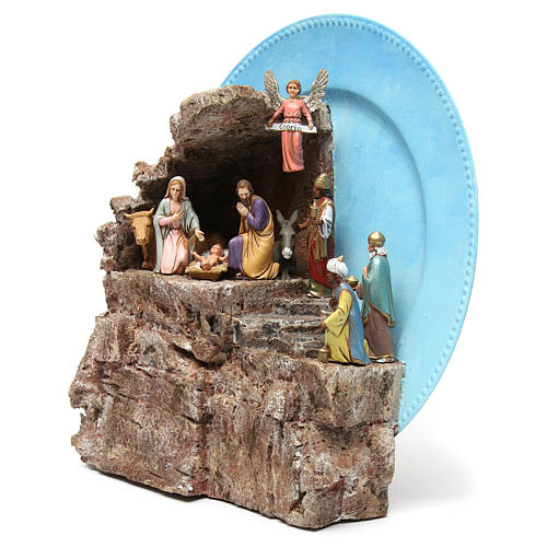 Complete Nativity on a Plate 10 cm 3