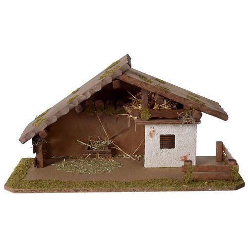 Stalla Presepe stile nordico in legno 30x55x25cm per statuette da 10-12 cm  1
