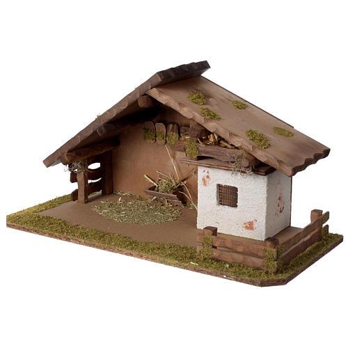 Stalla Presepe stile nordico in legno 30x55x25cm per statuette da 10-12 cm  2