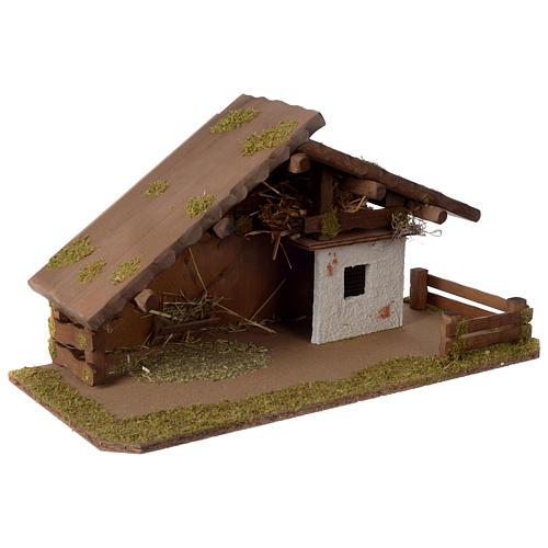 Stalla Presepe stile nordico in legno 30x55x25cm per statuette da 10-12 cm  3