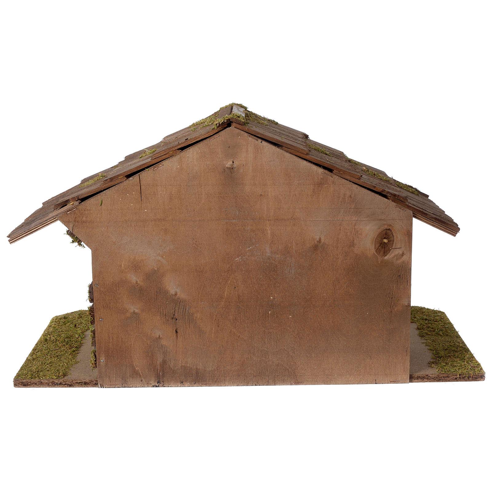 Stalla Presepe d'ispirazione nordica in legno 30x55x30cm per statuette da 10-12 cm 4