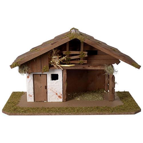 Stalla Presepe d'ispirazione nordica in legno 30x55x30cm per statuette da 10-12 cm 1