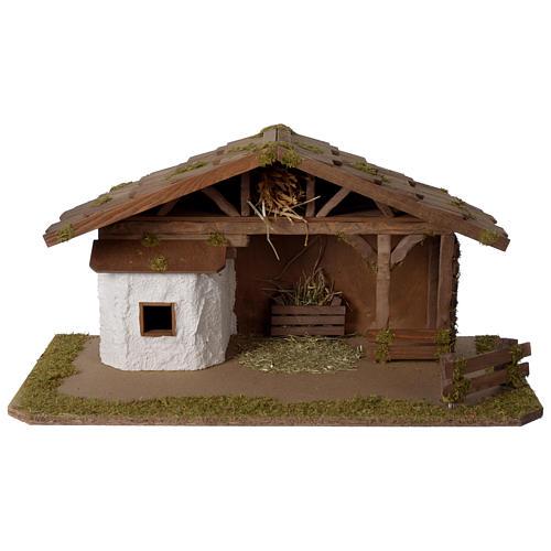 Stalla Presepe in legno modello scandinavo 30x55x30cm per statuette 10-12 cm 1