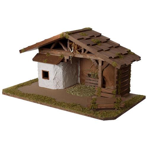 Stalla Presepe in legno modello scandinavo 30x55x30cm per statuette 10-12 cm 2