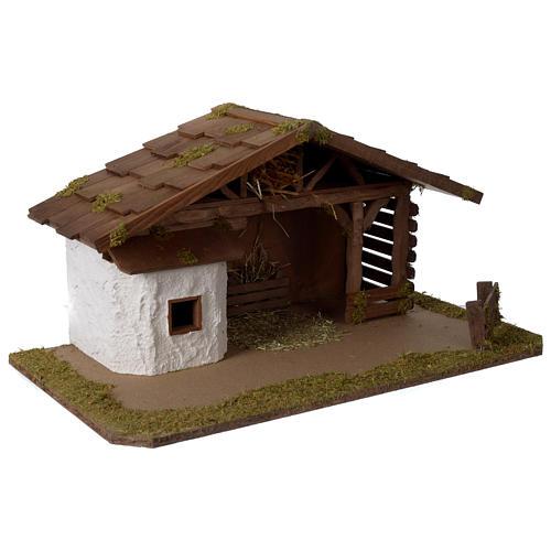 Stalla Presepe in legno modello scandinavo 30x55x30cm per statuette 10-12 cm 3