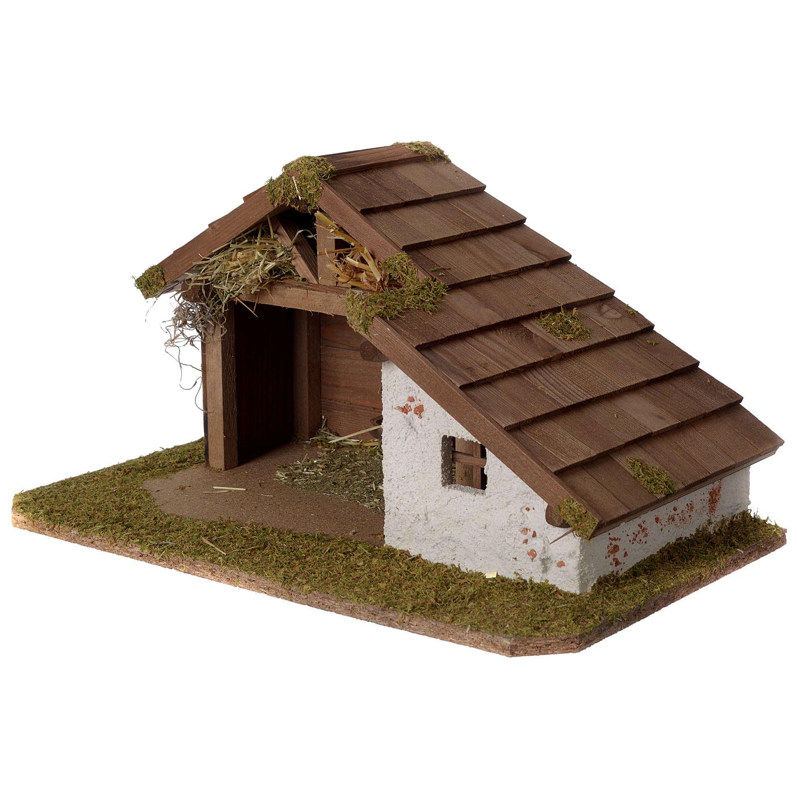 Stalla Presepe in legno design nordico 30x45x25cm per statuine di 10-12 cm 4