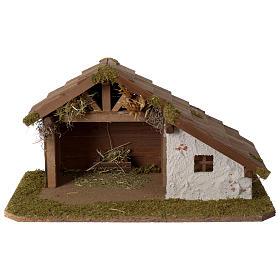 Stalla Presepe in legno design nordico 30x45x25cm per statuine di 10-12 cm s1
