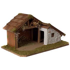 Stalla Presepe in legno design nordico 30x45x25cm per statuine di 10-12 cm s3
