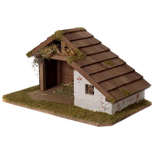 Stalla Presepe in legno design nordico 30x45x25cm per statuine di 10-12 cm 2