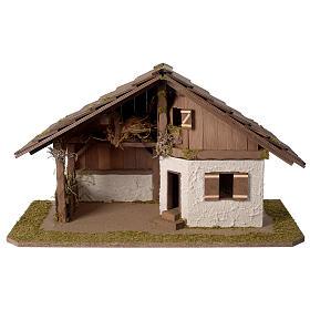 Cabanas e Grutas para Presépio: Casinha presépio modelo escandinavo em madeira 40x60x30 cm para presépio com figuras de 10-12 cm de altura média