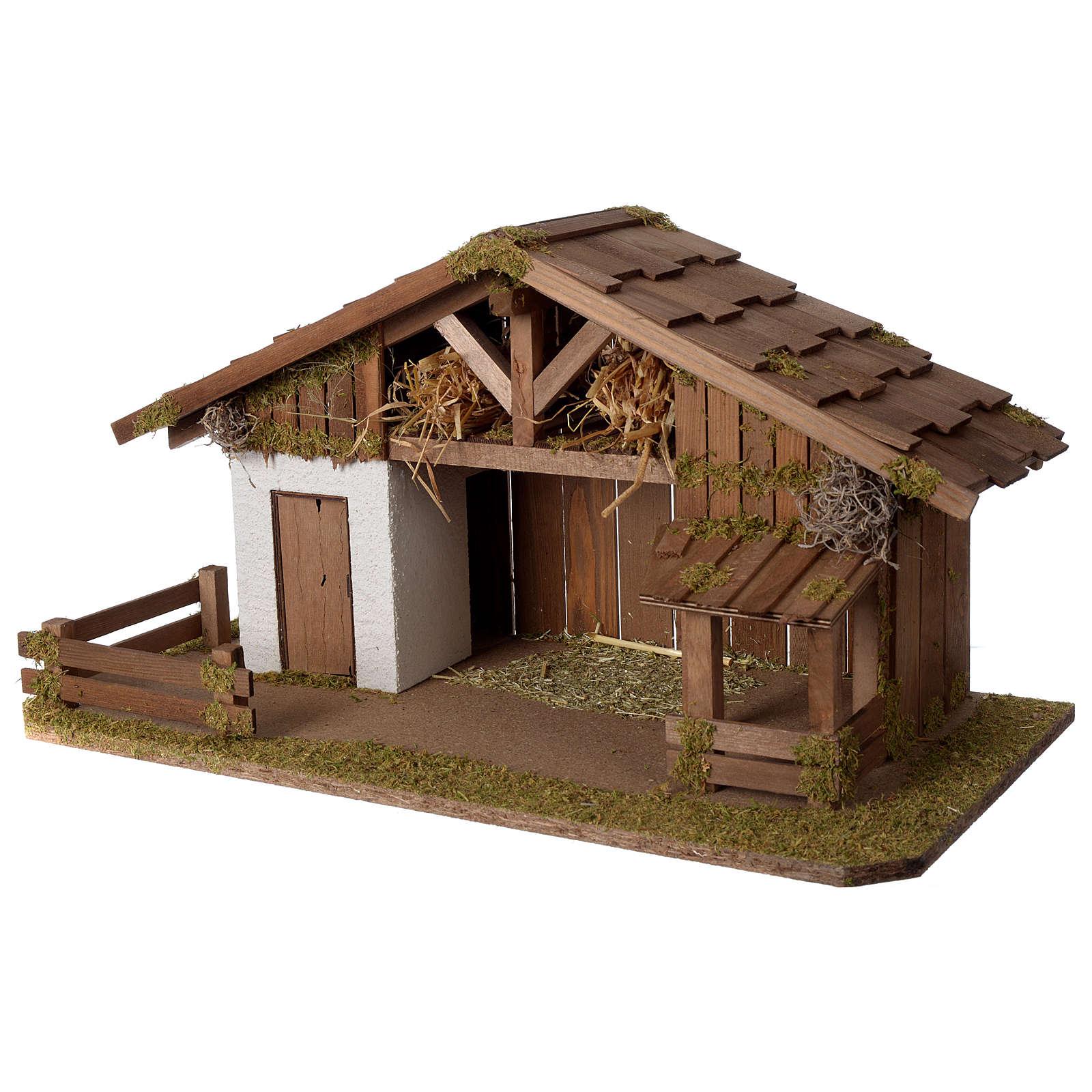 Casolare Presepe in legno artigianale modello nordico 30x60x30cm per statuine 10-12 cm 4