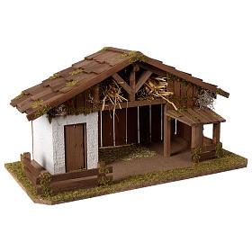 Casolare Presepe in legno artigianale modello nordico 30x60x30cm per statuine 10-12 cm s3