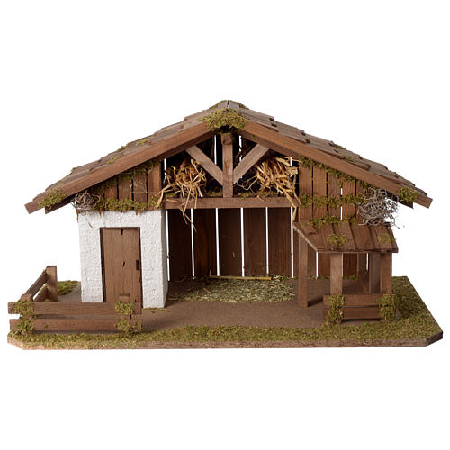 Casolare Presepe in legno artigianale modello nordico 30x60x30cm per statuine 10-12 cm 1