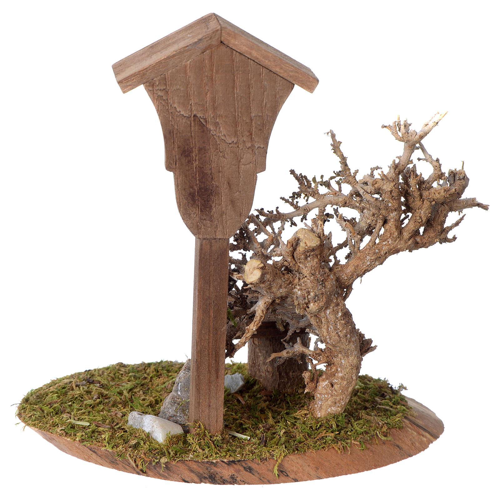 Nicchia con Madonnina artigianale in legno 15x10x5cm per presepe 10-12 cm 4