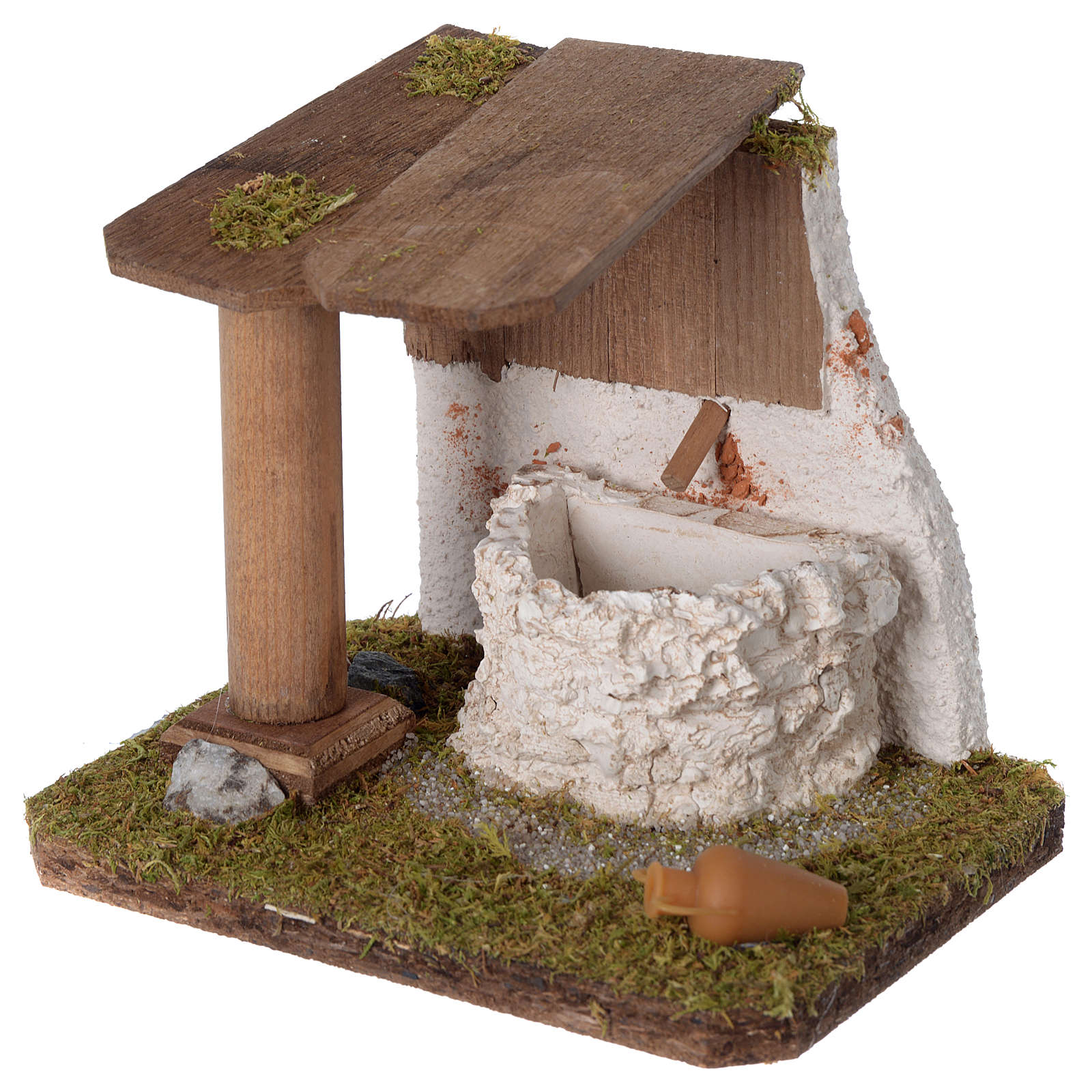 Fontana artigianale in legno e gesso 15x15x10 cm per presepe 10-12 cm 4