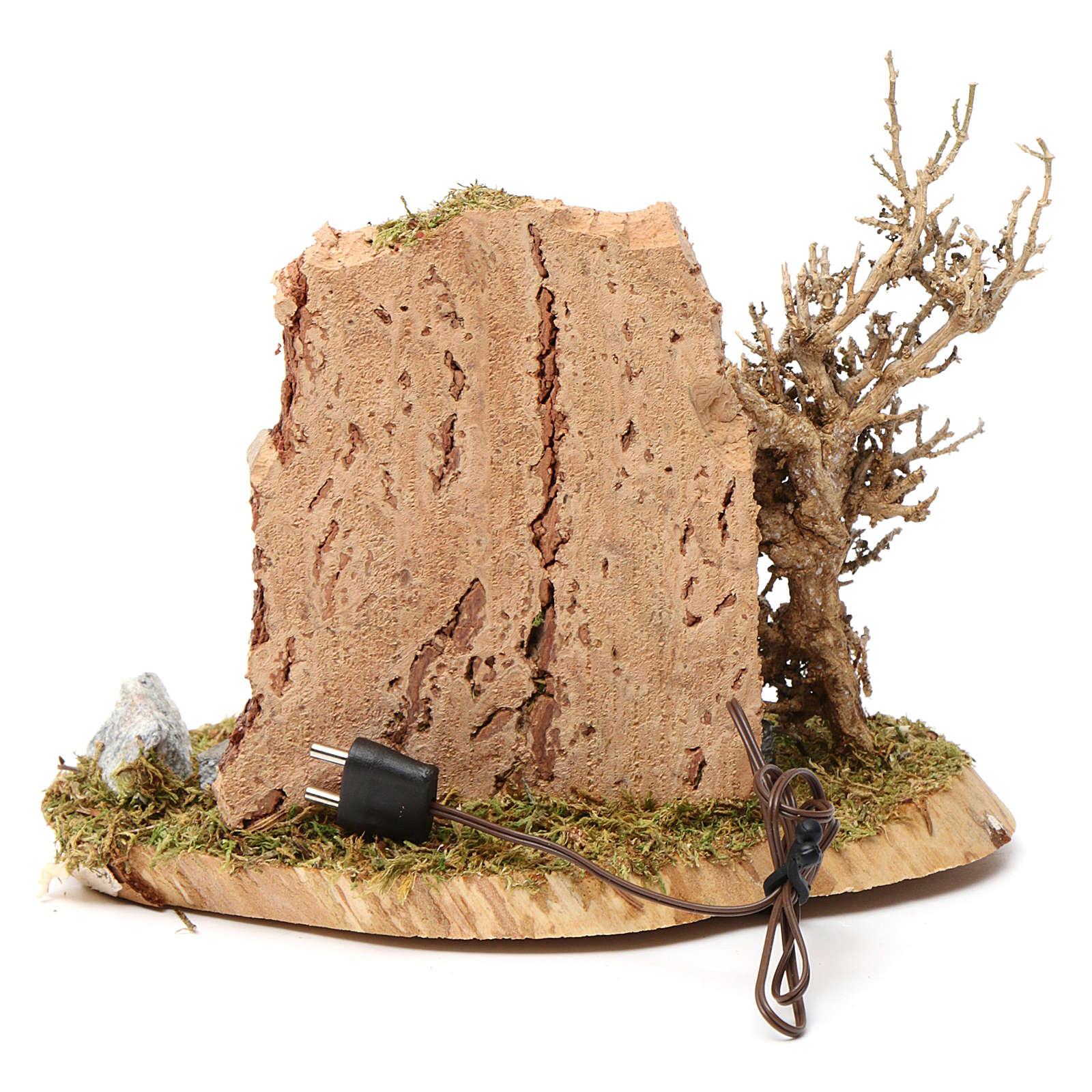 Feu de camp pour crèche 10-12 cm bois avec led effet flamme 3,5-4,5 V 4