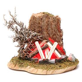 Feu de camp pour crèche 10-12 cm bois avec led effet flamme 3,5-4,5 V s1