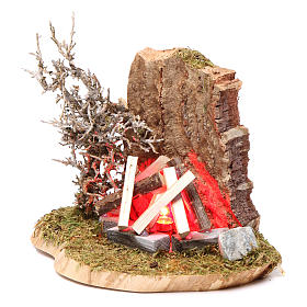 Feu de camp pour crèche 10-12 cm bois avec led effet flamme 3,5-4,5 V s2