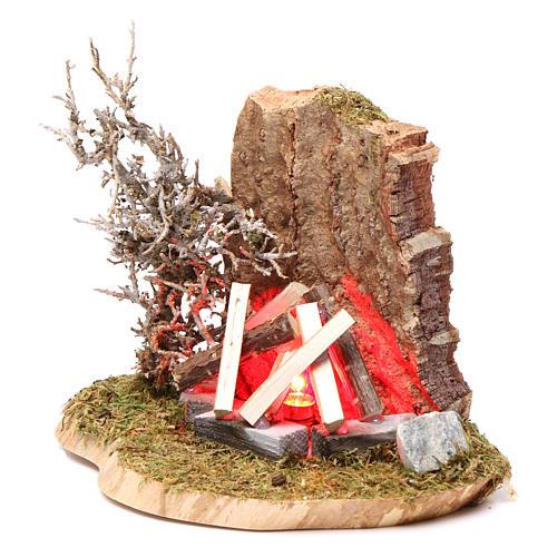 Feu de camp pour crèche 10-12 cm bois avec led effet flamme 3,5-4,5 V 2