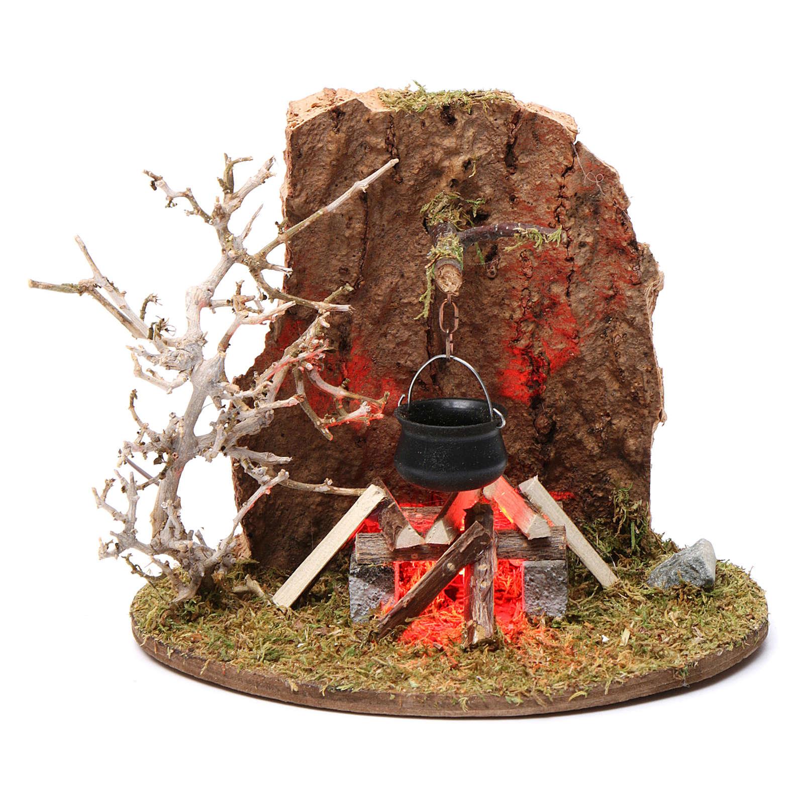 Fuego y olla de campamento para belén 10-12 cm de altura media madera llama iluminada 3,5-4,5V 4