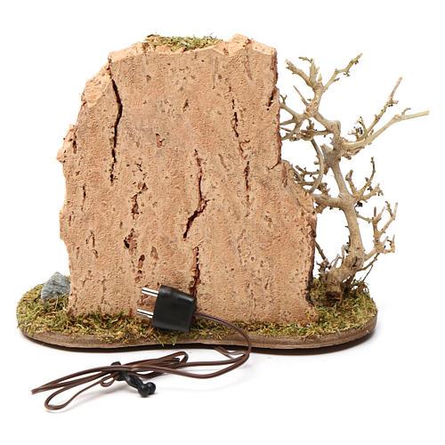 Fuego y olla de campamento para belén 10-12 cm de altura media madera llama iluminada 3,5-4,5V 3