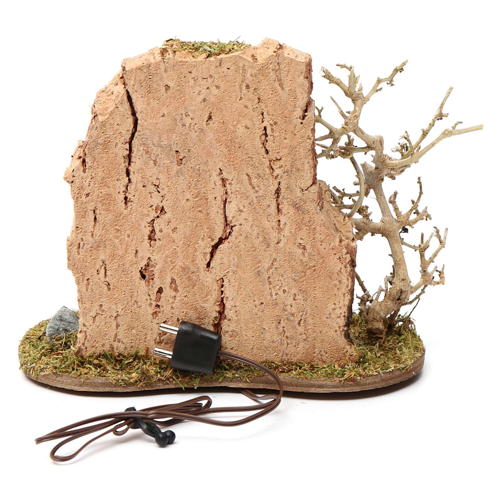 Feu de camp avec casserole pour crèche 10-12 cm bois flamme éclairée 3,5-4,5 V 4