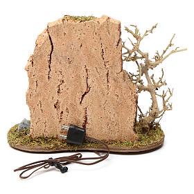 Feu de camp avec casserole pour crèche 10-12 cm bois flamme éclairée 3,5-4,5 V s3