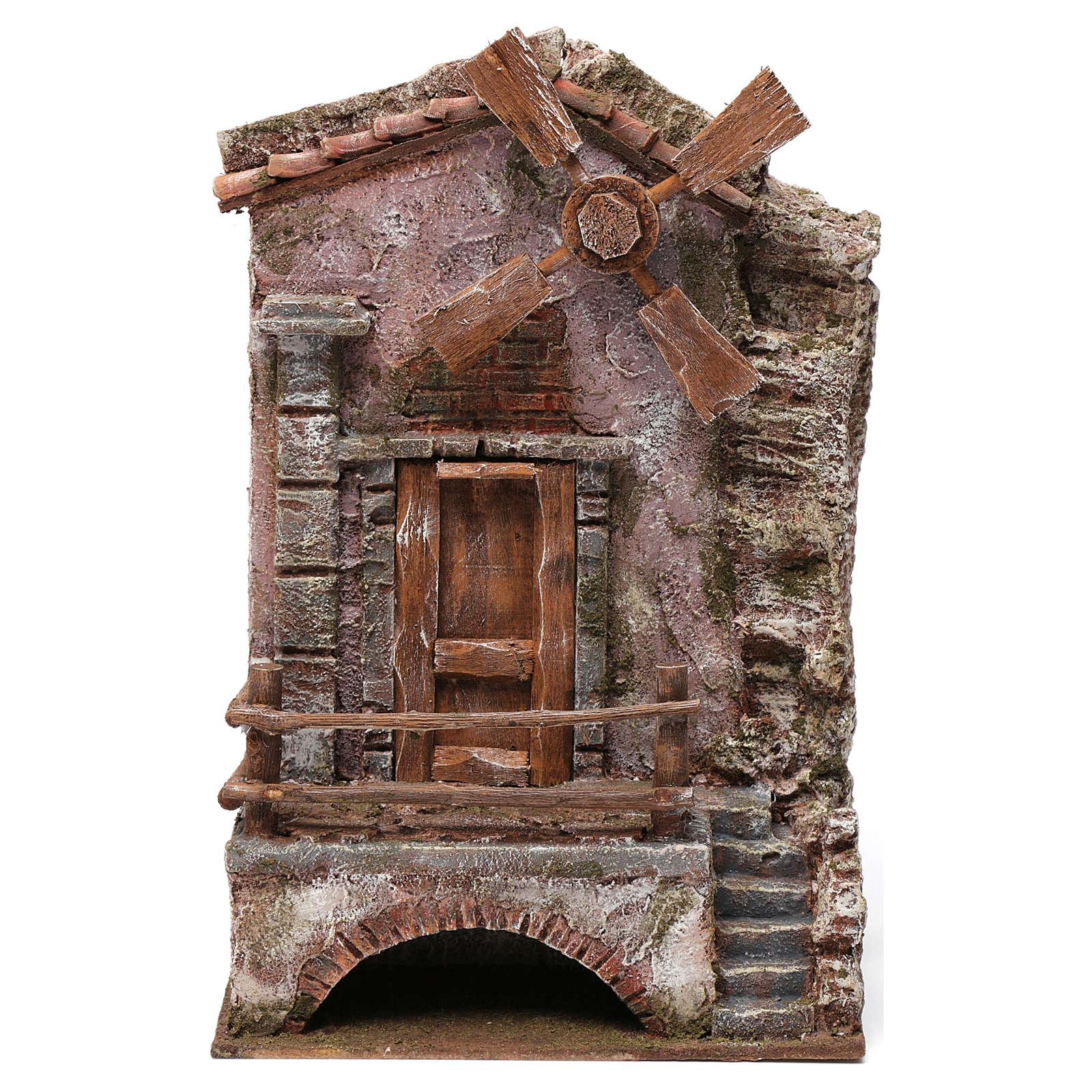 Moulin pour crèche quatre pales 30x20x15 cm 4
