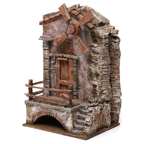 Moulin pour crèche quatre pales 30x20x15 cm 2