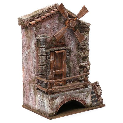 Moulin pour crèche quatre pales 30x20x15 cm 3