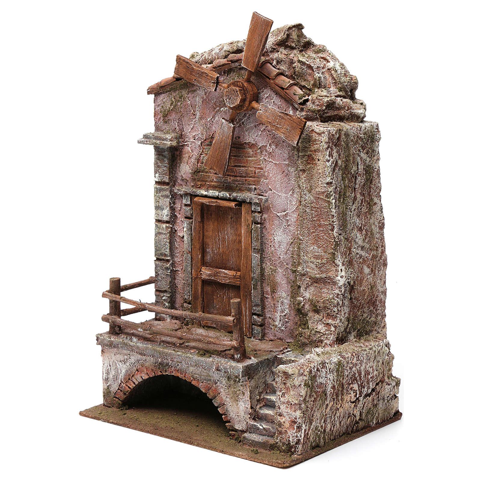 Mulino per presepe quattro eliche con porta e scale, dimensioni 45x20X25 cm 4