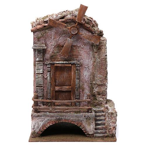 Mulino per presepe quattro eliche con porta e scale, dimensioni 45x20X25 cm 1