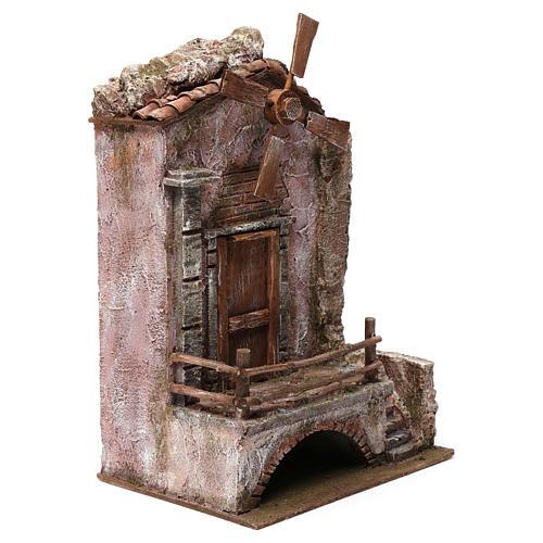 Mulino per presepe quattro eliche con porta e scale, dimensioni 45x20X25 cm 3