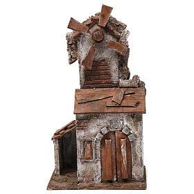 Moulin pour crèche 4 pales avec maisonnette avec porte double 35x15x20 cm s1