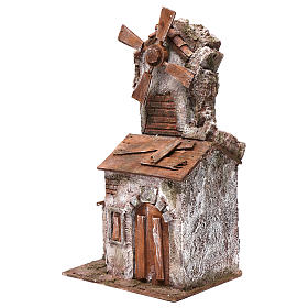 Moulin pour crèche 4 pales avec maisonnette avec porte double 35x15x20 cm s2
