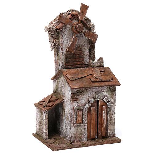Moulin pour crèche 4 pales avec maisonnette avec porte double 35x15x20 cm 3