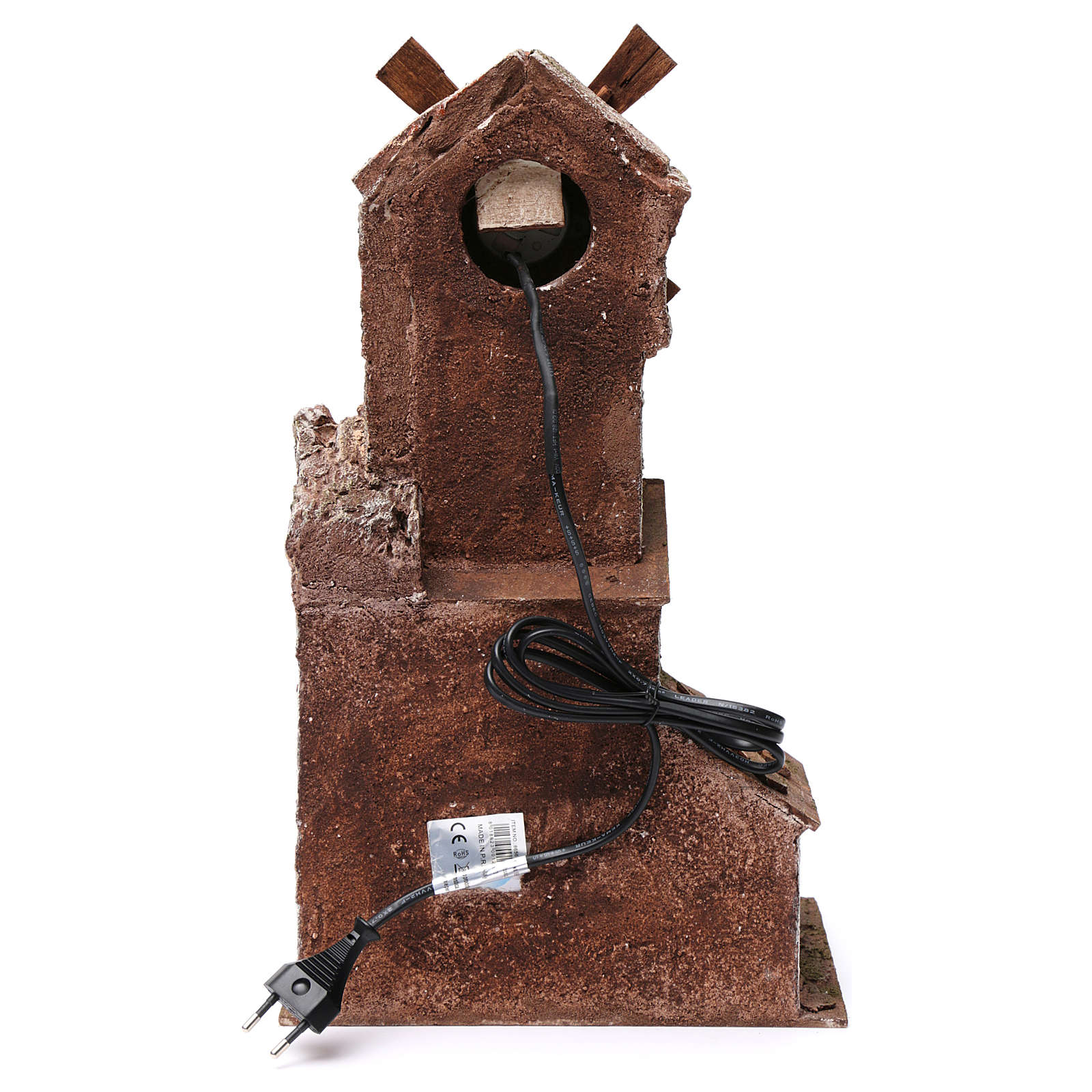 Molino para belén cuatro hélices con casita con puerta con dos hojas y pala 45x20x25 cm 4