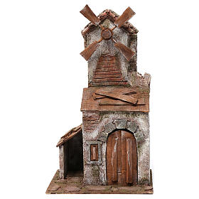 Molino para belén cuatro hélices con casita con puerta con dos hojas y pala 45x20x25 cm s1
