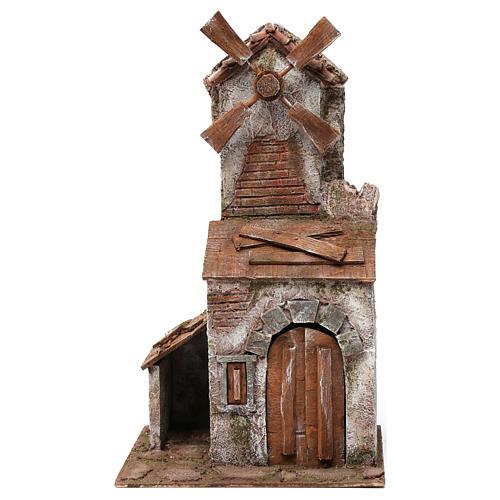 Molino para belén cuatro hélices con casita con puerta con dos hojas y pala 45x20x25 cm 1