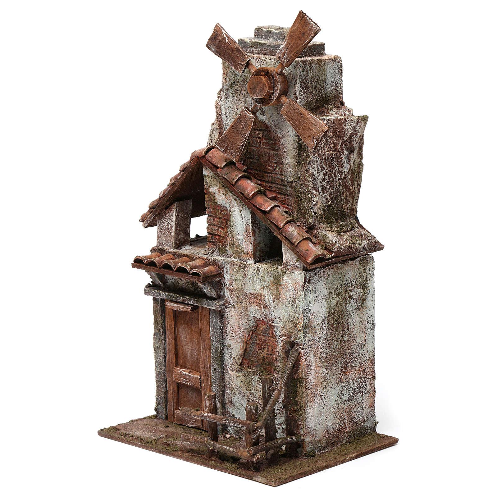 Mulino per presepe quattro eliche con casetta legno, tetto con tegole 35x15X20 cm 4