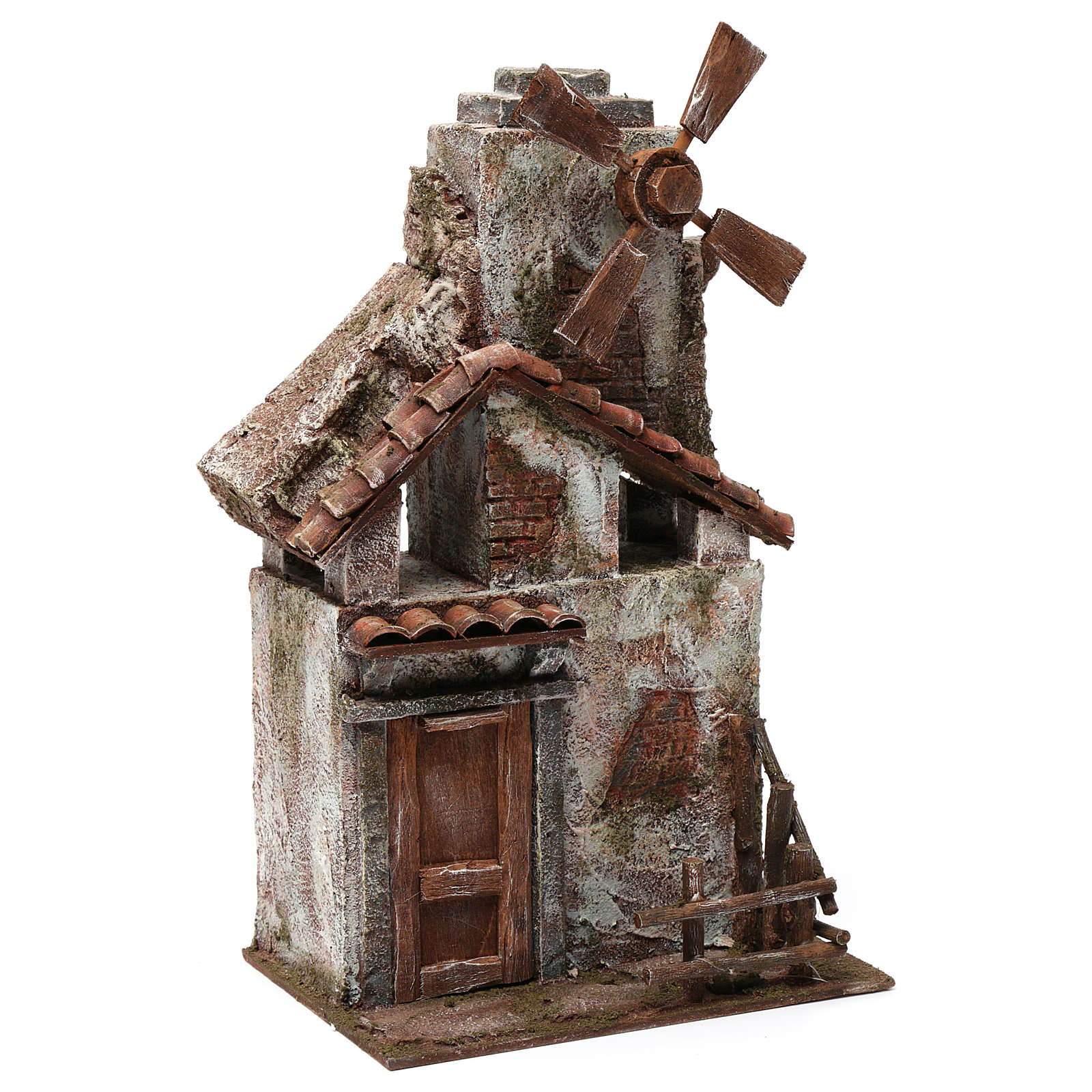 4 propeller Mill for nativity with wood house and tiled roof 35x15x20 cm 4