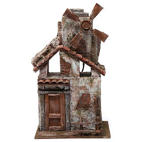 4 propeller Mill for nativity with wood house and tiled roof 35x15x20 cm s1